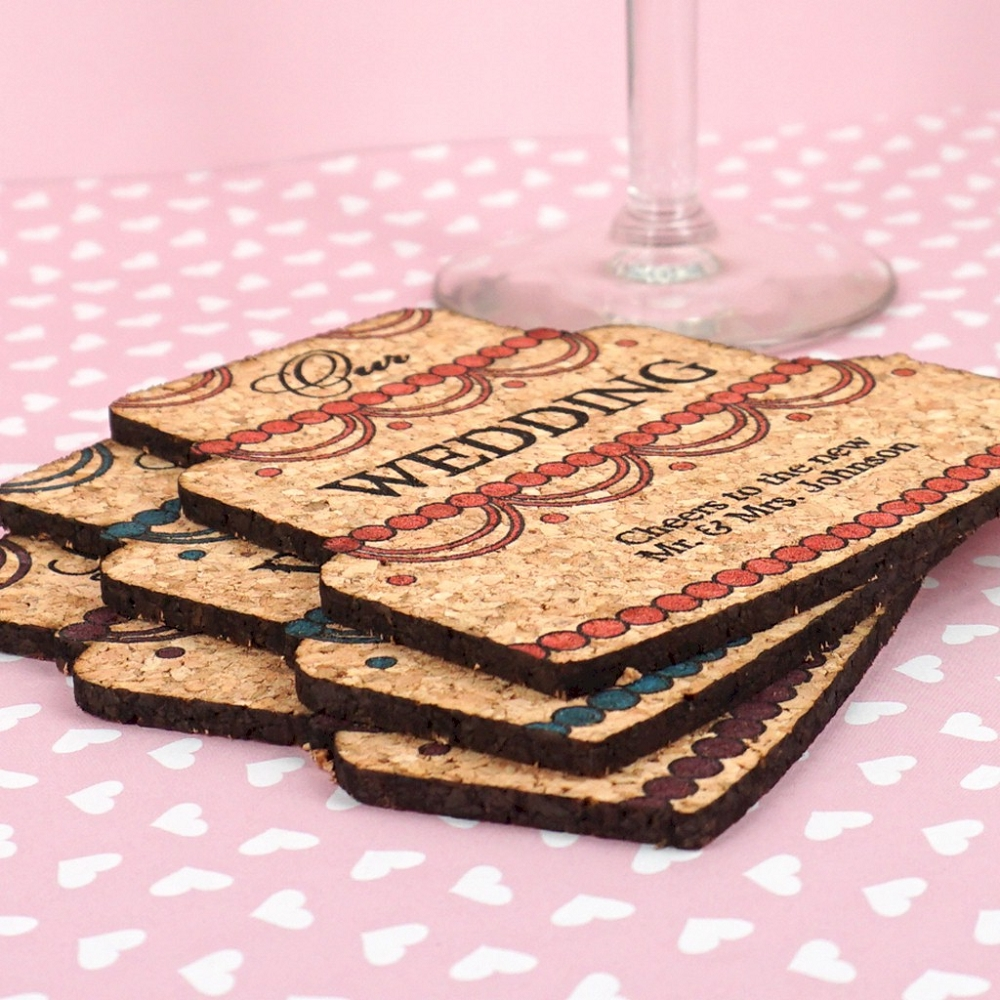 Wedding Cork Coaster: Wedding Cake Cork Coasters Personalized Wedding Favors