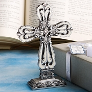 Pewter Cross Statue with Ivory Enamel Inlay