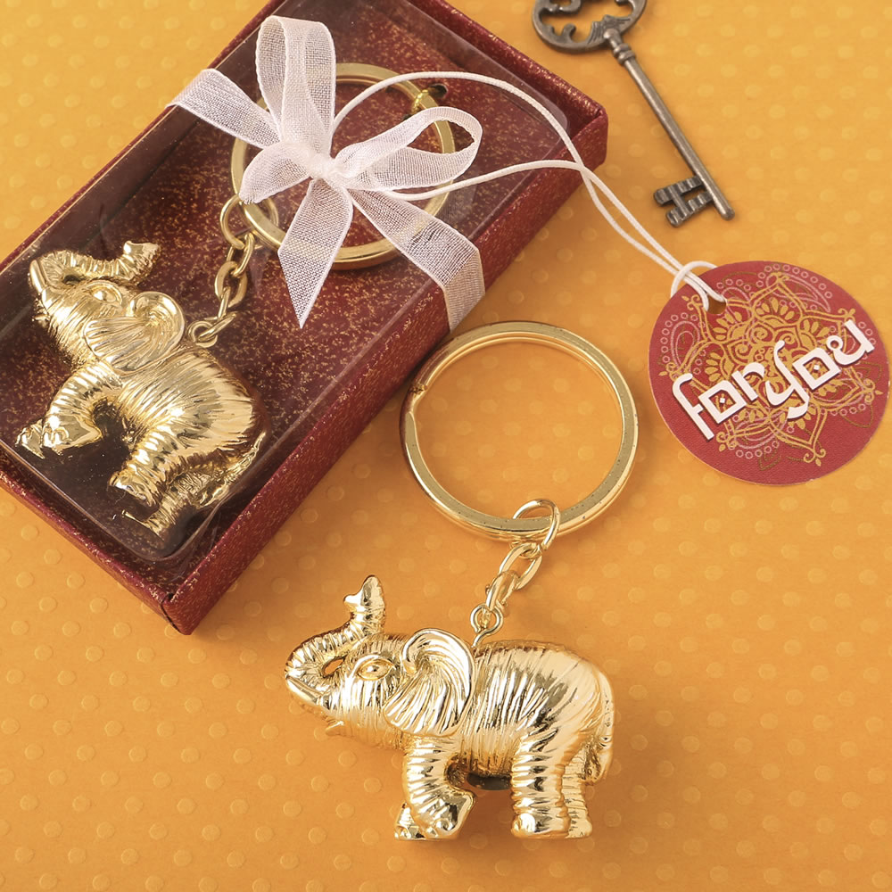 Lucky Elephant Key Chain Favors Indian Theme Wedding Favors