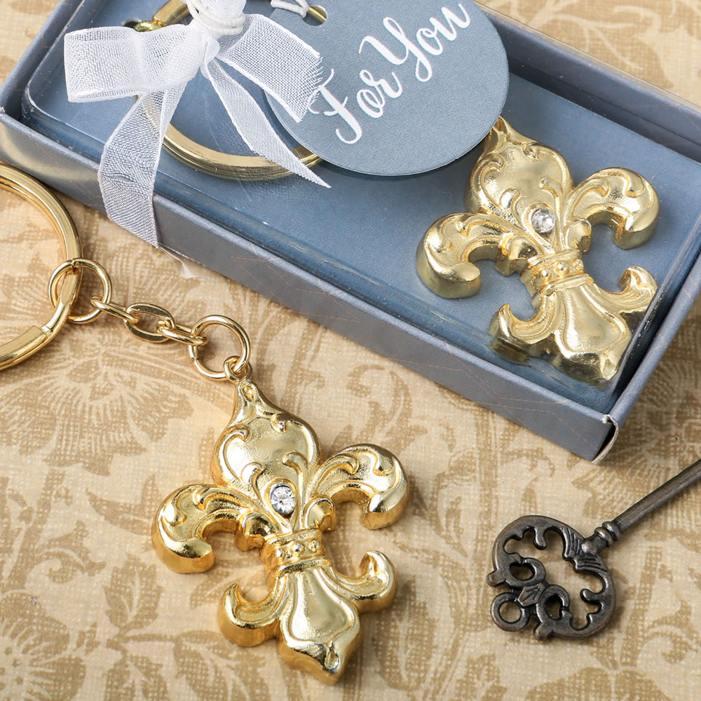 Fleur De Lis Key Chain Wedding Favors French Parisian Wedding Theme