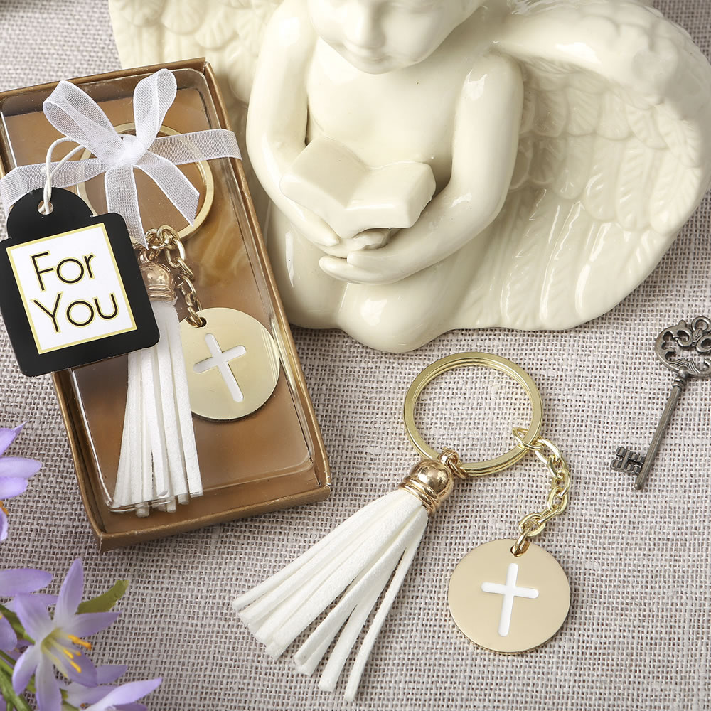 Religious Cross Key Chain Favors - Christenings | Communions | Baptisms