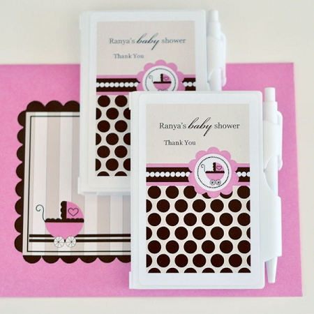 Personalized Pink Baby Shower Notebook Favors Baby Girl Shower Favor