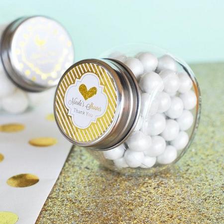 Personalized Candy Jar Wedding Favors Metallic Foil Labels