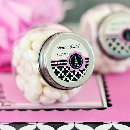 Personalized Mini Candy Jars With Parisian Party Design Stickers