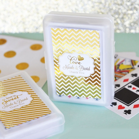 Personalized Metallic Foil Playing Cards Wedding Favors