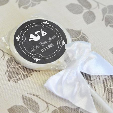 Chalkboard Baby Shower Personalized Lollipop Favors With Stork Design