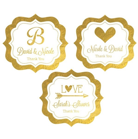 Personalized Metallic Foil Frame Labels For Weddings