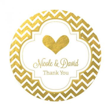 Personalized metallic foil round favor labels wedding