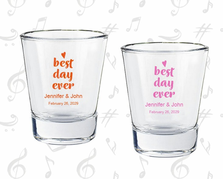 Personalized Shot Glass Wedding Favors Best Day Ever
