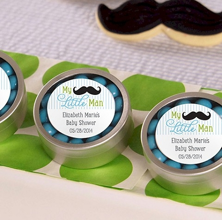 Baby Shower Favors Mustache my little man personalized silver mint tin baby shower favors