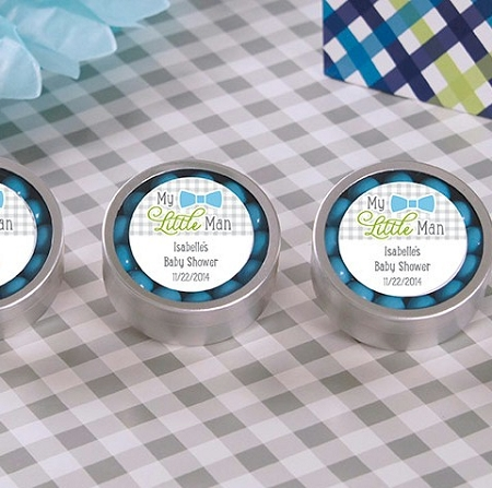 My Little Man Personalized Silver Mint Tin Baby Shower Favors