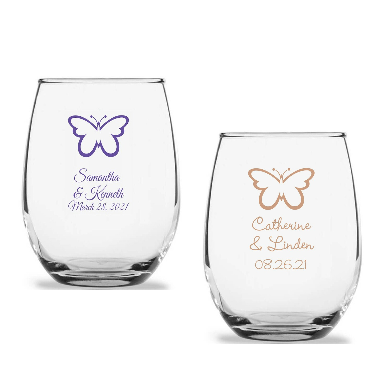97695bde4ee Butterfly Personalized Stemless Wine Glass (9 oz or 15 oz)