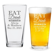 Eat Drink and Be Married Personalized 16 oz Pint Glass