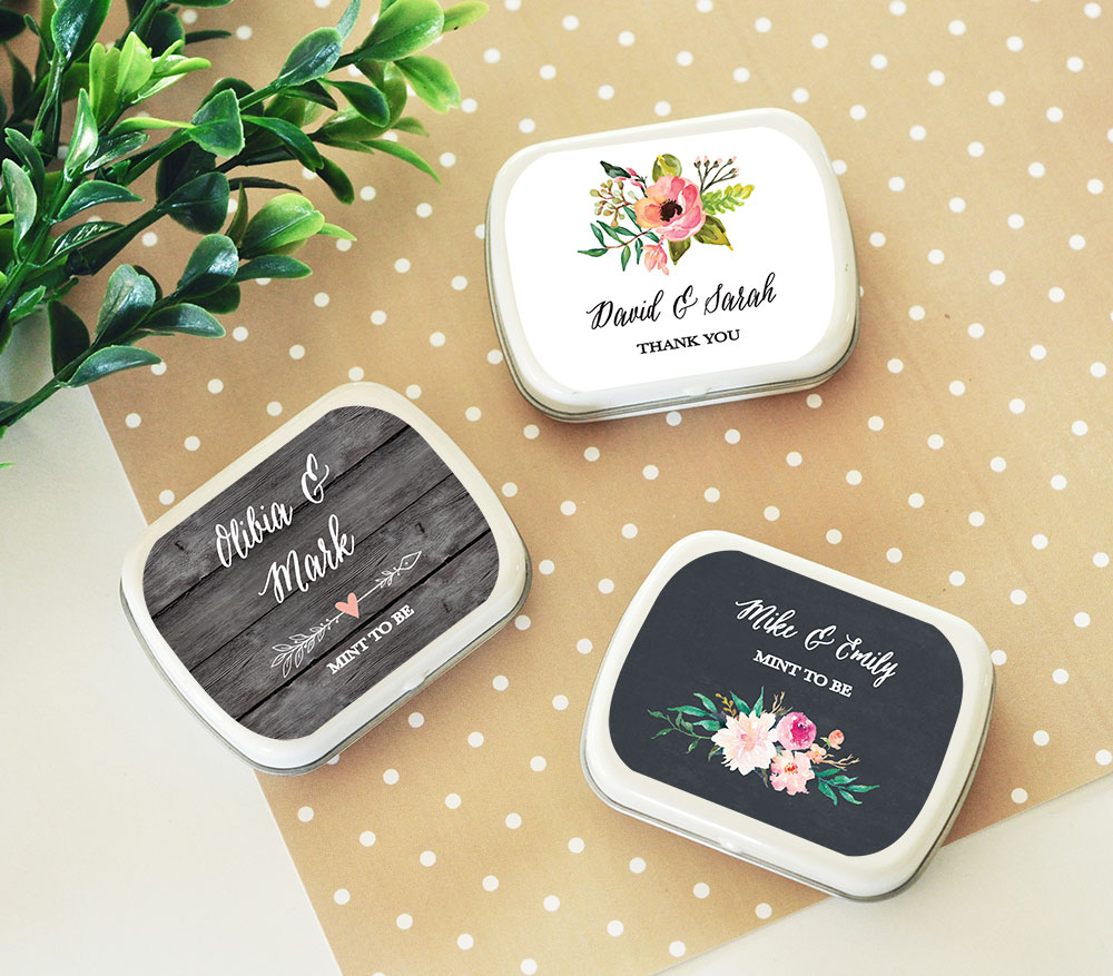 Personalized Mint Tins Candy Tin Wedding Favors Floral Garden Design