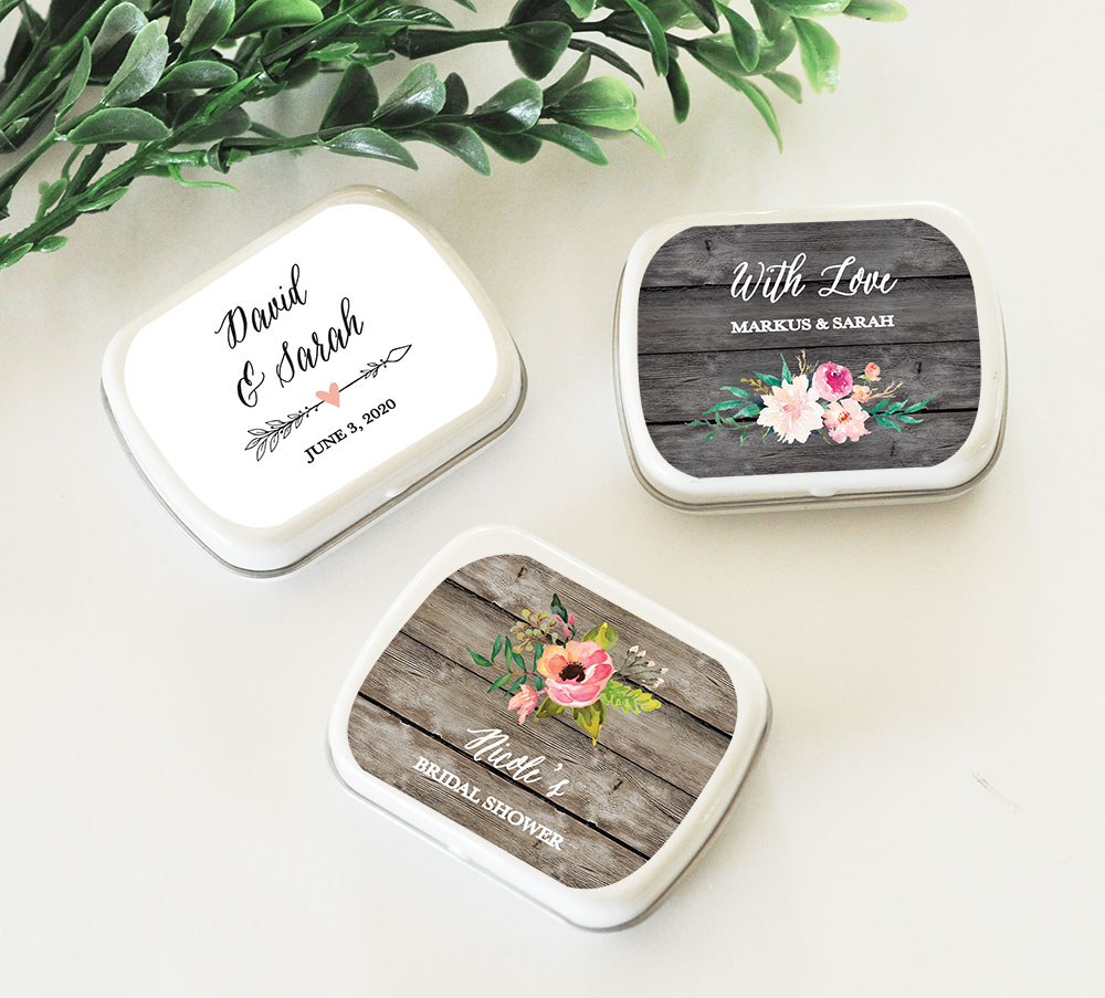 Personalized Mint Tins | Candy Tin Wedding Favors | Floral Garden Design