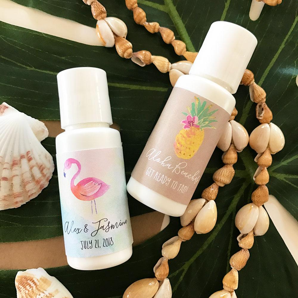 Personalized Beach Wedding Gifts: Sunscreen Wedding Favors, Tropical Beach Theme Design