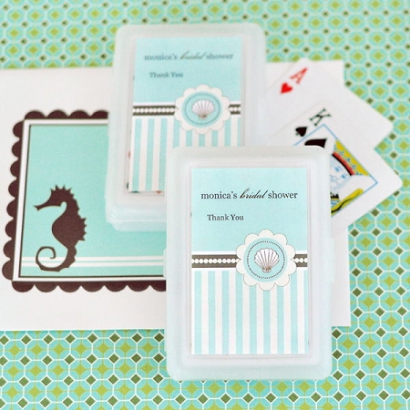 personalized playing cards bridal shower favors beach party