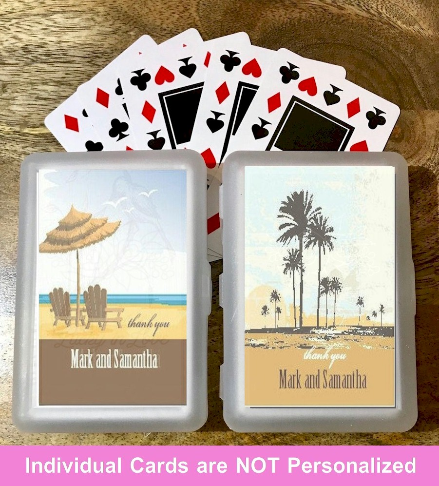 personalized playing cards wedding favors beach theme