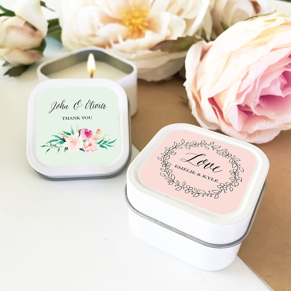 Personalized tin Candle Wedding Favors - Floral Garden Design ...
