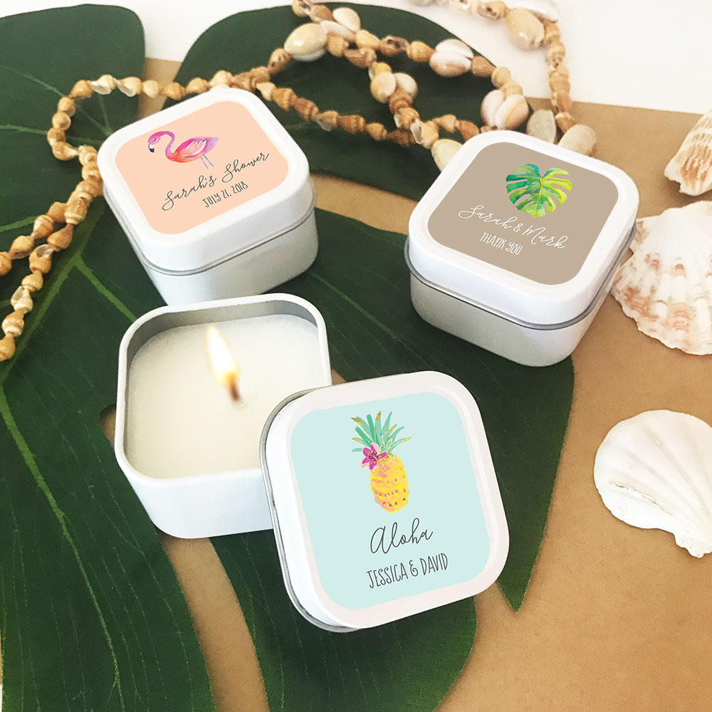 Beach Wedding Favors: Personalized Candle Tin Wedding Favors