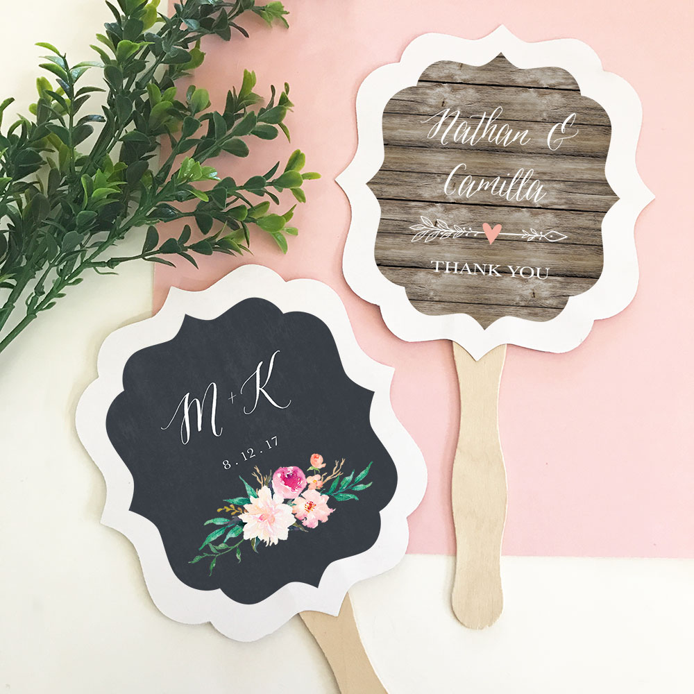 Personalized Paddle Fan Wedding Favors