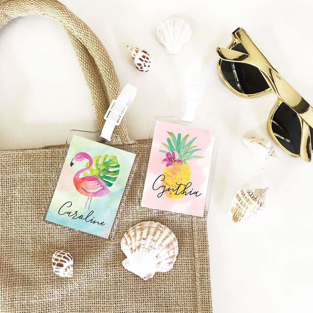 Personalized Luggage Tag Wedding Favors, Tropical Beach Travel Favors