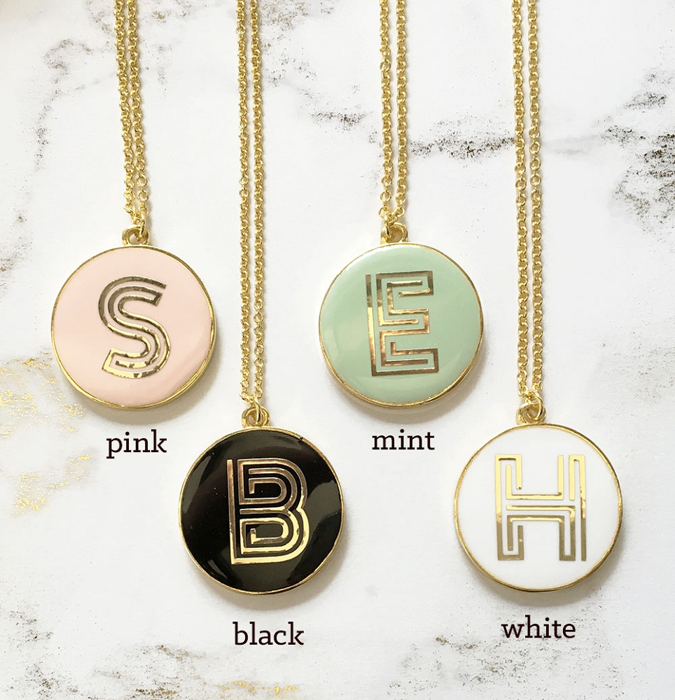 Round Gold Monogram Necklace Wedding Gifts | Bridal Shower Party ...