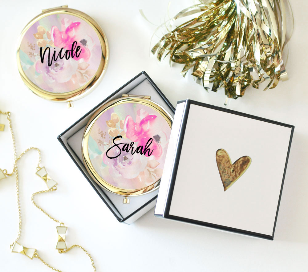Floral Compact Mirror Bridal Shower Favors and Gifts