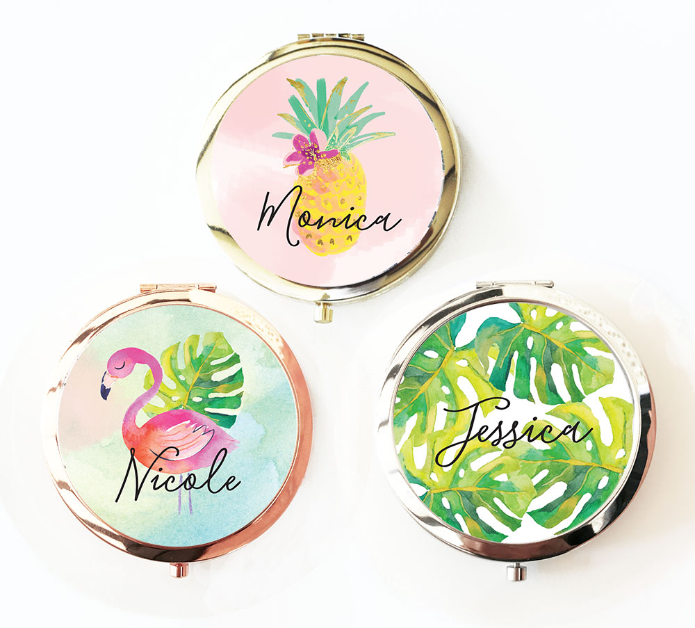 Personalized Compact Mirror Bridal Shower Favors | Tropical Beach Theme