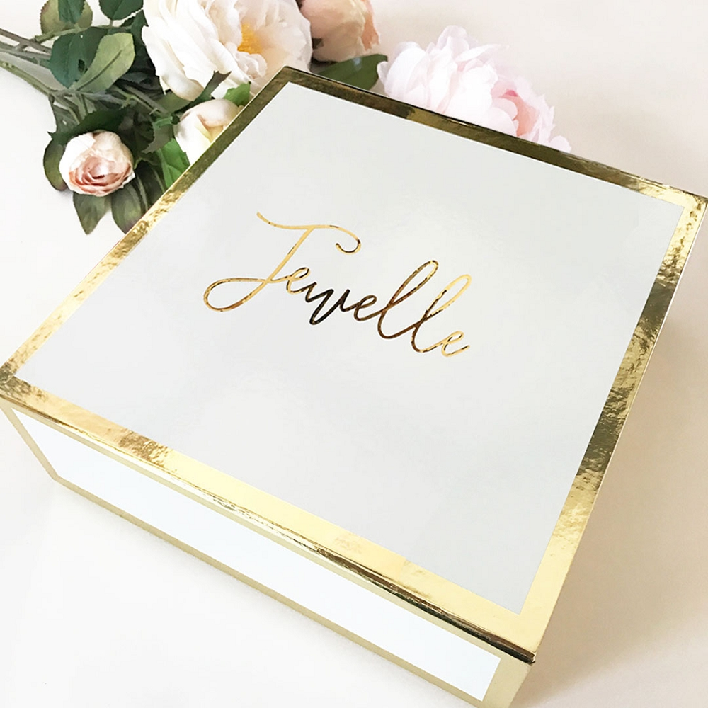 white personalized bridal shower gift box bridesmaid maid of honor flower girl git ideas
