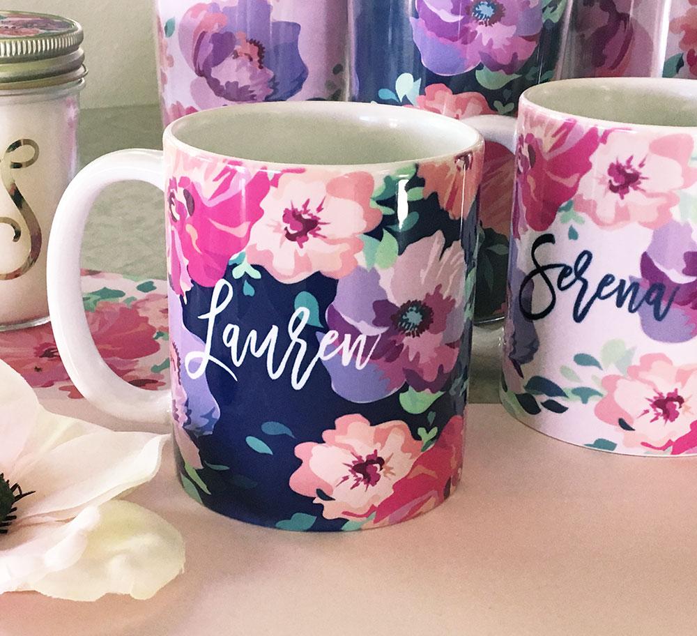 Personalized Floral Coffee Mug | Wedding | Bridal Shower Party