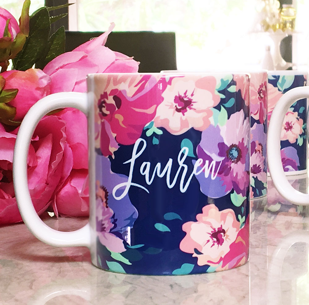 Personalized Floral Coffee Mug | Wedding | Bridal Shower Party