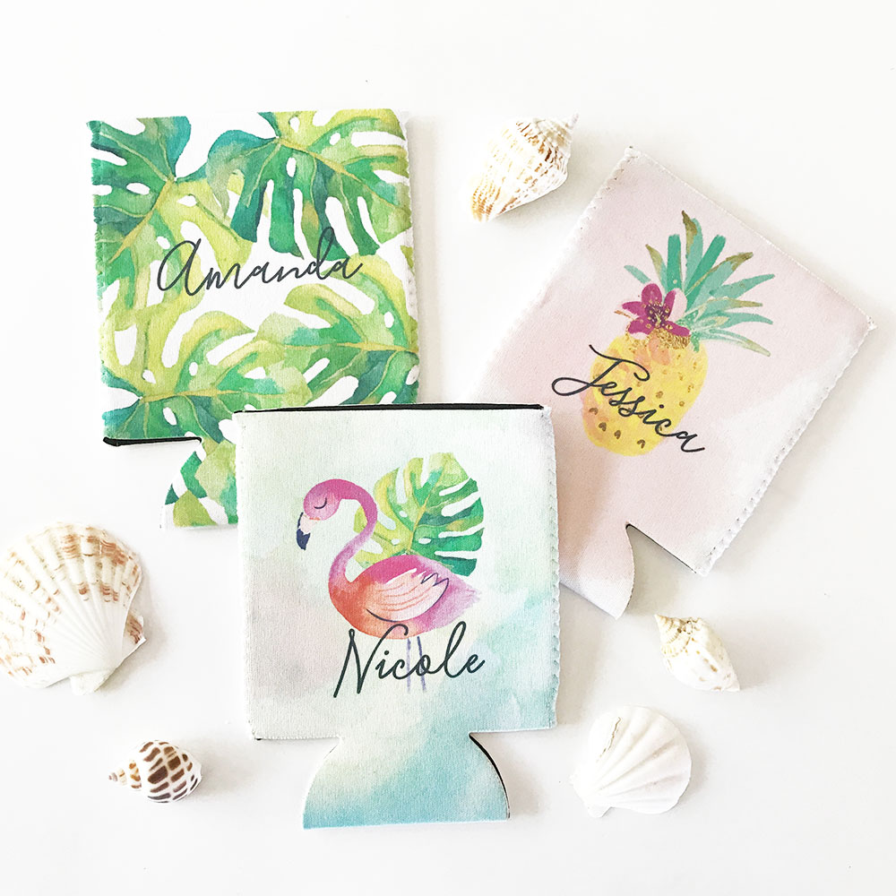 Personalized Tropical Beach Coozie | Bridal Shower Party | Can ...