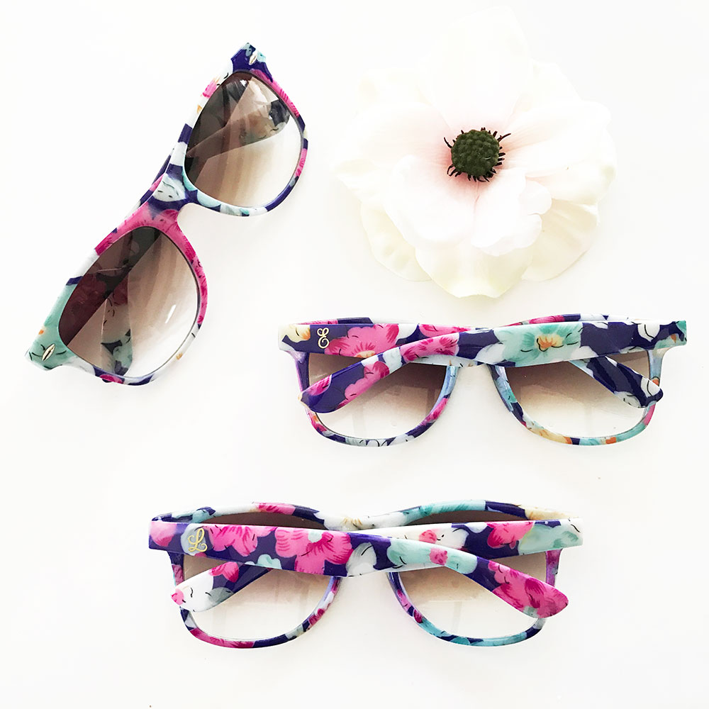 Monogram Floral Sunglass Favors - Bridesmaids Gifts - Bridal Party ...