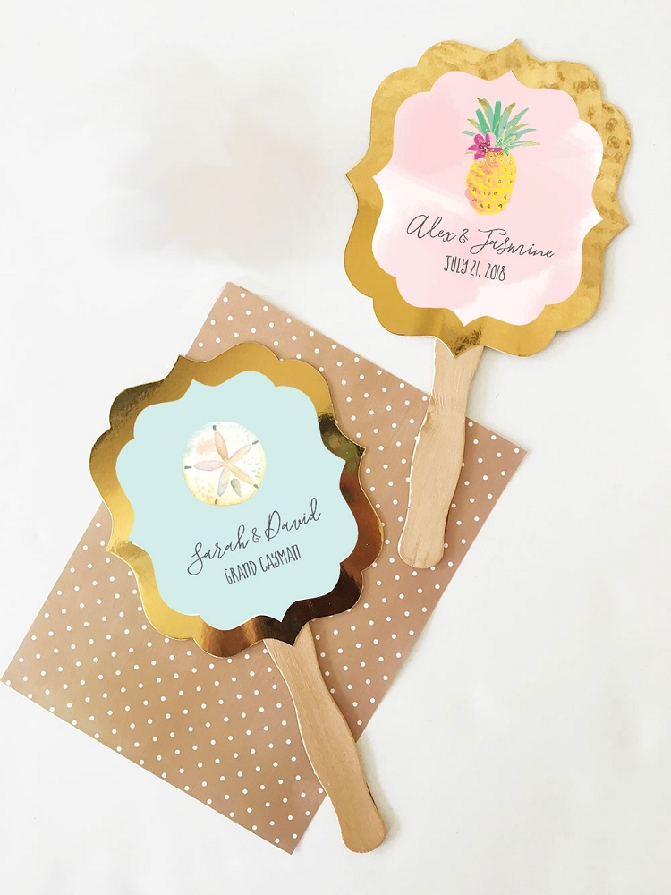 Personalized Paddle Fan Wedding Favors Tropical Beach Wedding