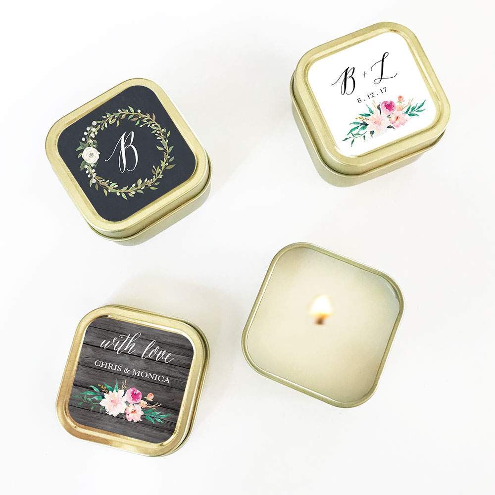 Personalized Floral Garden Gold Square Candle Tins - Candle Wedding ...