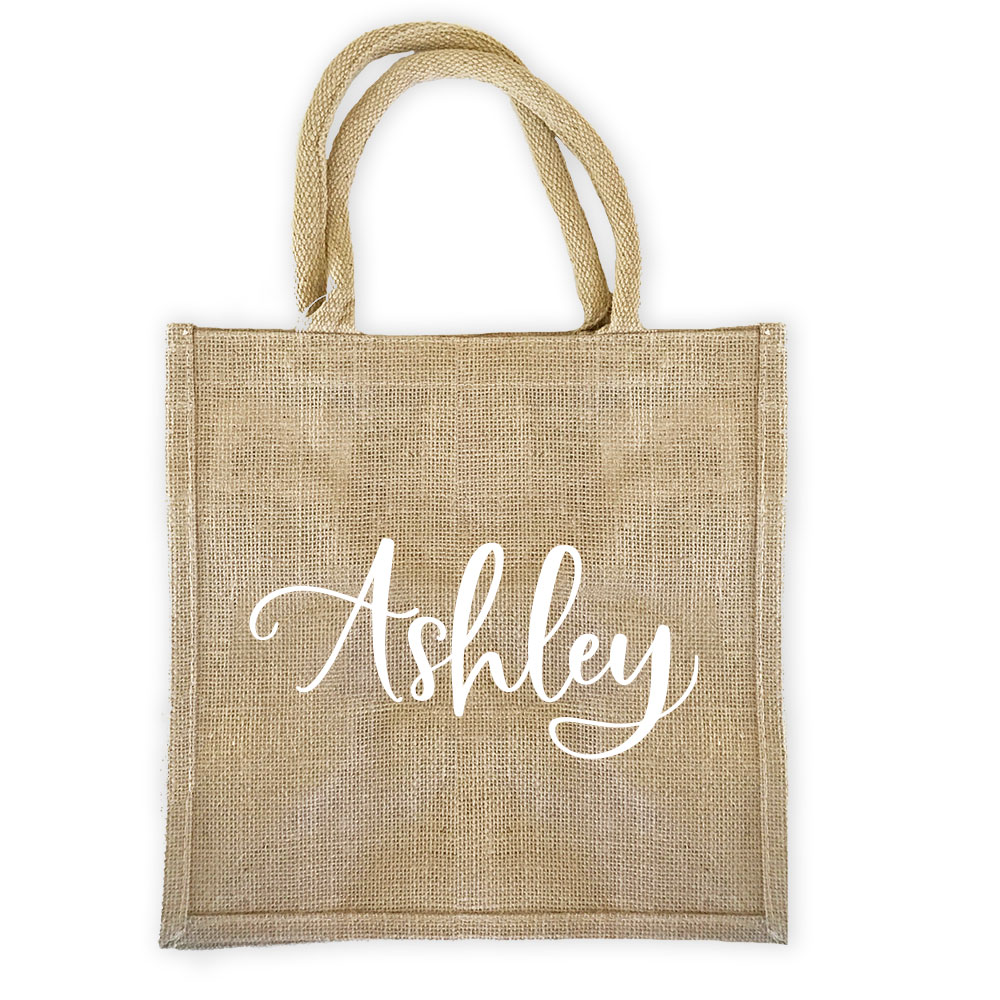 Personalized Burlap Tote Bag Bridal Shower Bachelorette Party Destination Wedding