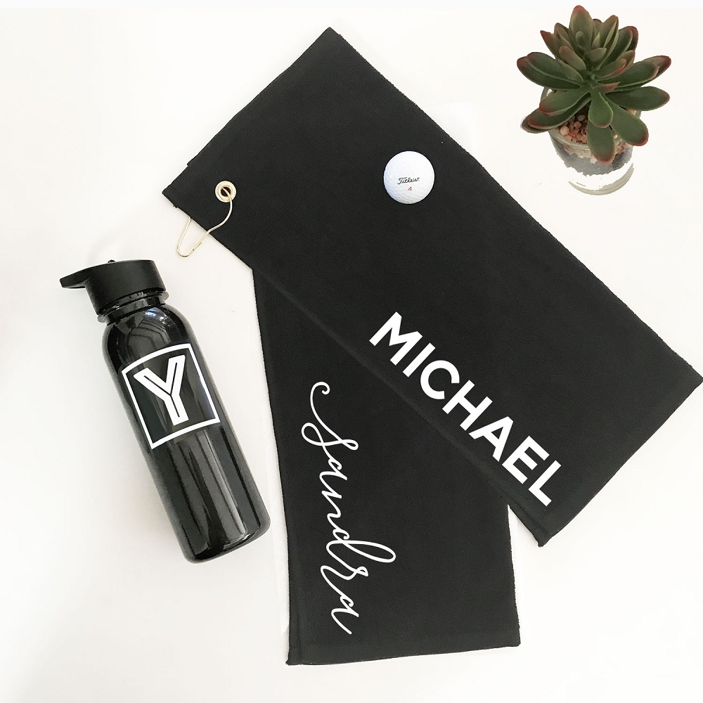 Personalized Golf Towel | Groomsman and Best Man Gift Ideas on golf coasters, golf sunglasses, golf cups, golf bedding, golf clothing, golf dishes, golf uniforms, golf food, golf hats, golf paper, golf license plate frames, golf accessories, golf games,