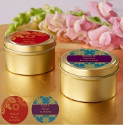 Indian Jewel Design Gold Round Personalized Mint Tin (Set of 12)