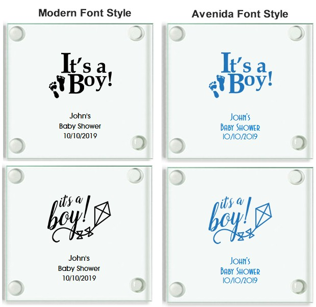Its A Boy Personalized Glass Coasters Baby Shower Favors