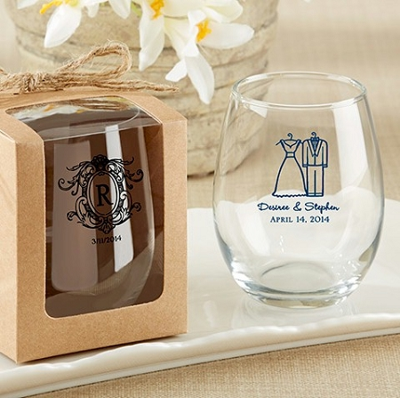 personalized stemless wine glass wedding bridal shower