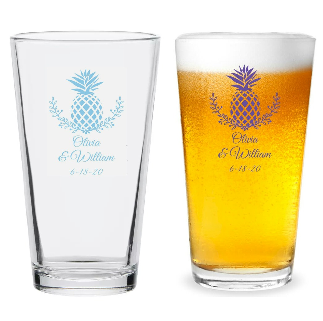aed8c48159f Custom Pint Glass Wedding Favors, Palm Beach Wedding, Tropical & Beach  Pineapple Theme