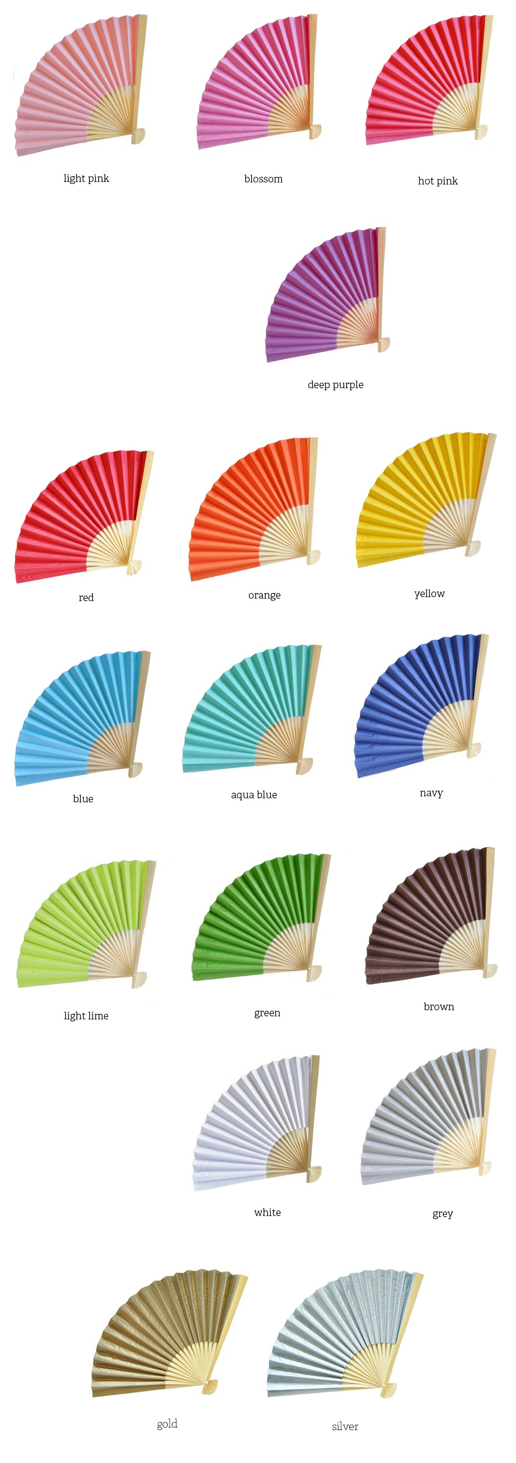 Personalized Paper Fans With Metallic Foil Labels