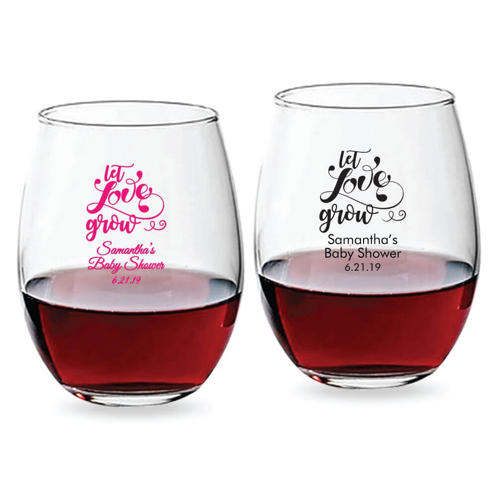 66d77f65291 Let Love Grow Personalized Stemless Wine Glasses (9 oz or 15 oz)