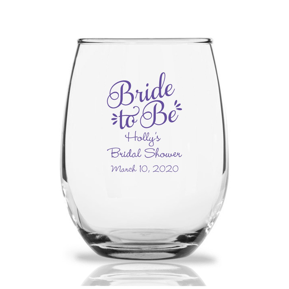 stemless wine glass bridal shower favors bride to be bachelorette party gift