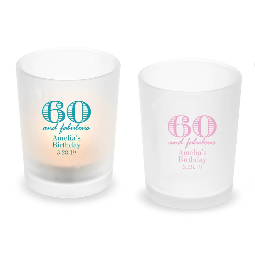 60th Birthday Candle Party Favors Personalized Holders