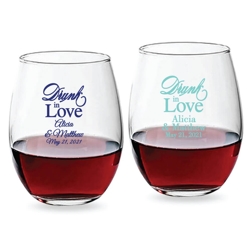 Drunk In Love Script Personalized Stemless Wine Glass 9 Oz Or 15 Oz
