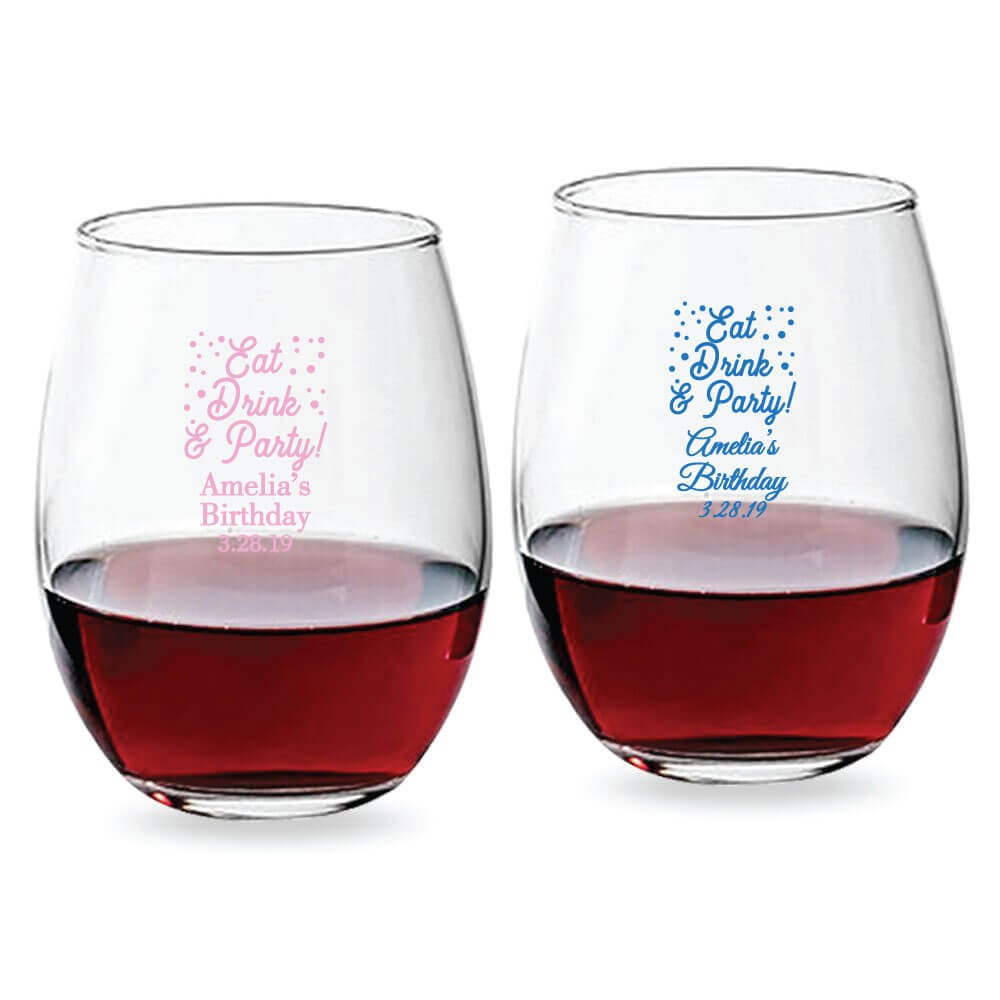 985a74eb7de Stemless Wine Glass Party Favors, Wedding, Bridal Party, Birthday  Celebration, Wedding Anniversary
