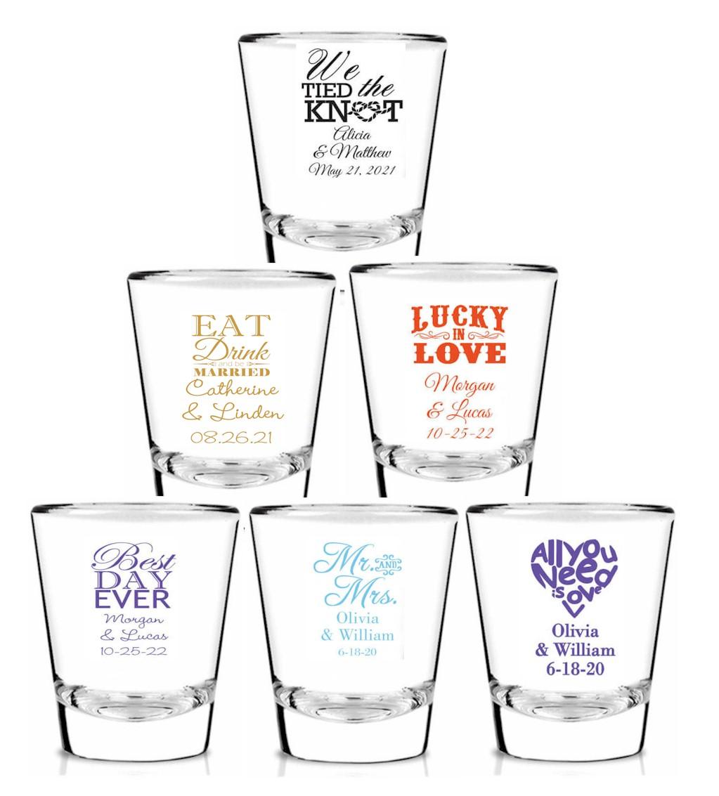 Custom Shot Glass Shot Glass wedding gift Custom Shot Glasses Shot Glasses Wedding Favors 18 Wedding Shot Glasses Personalized Shot