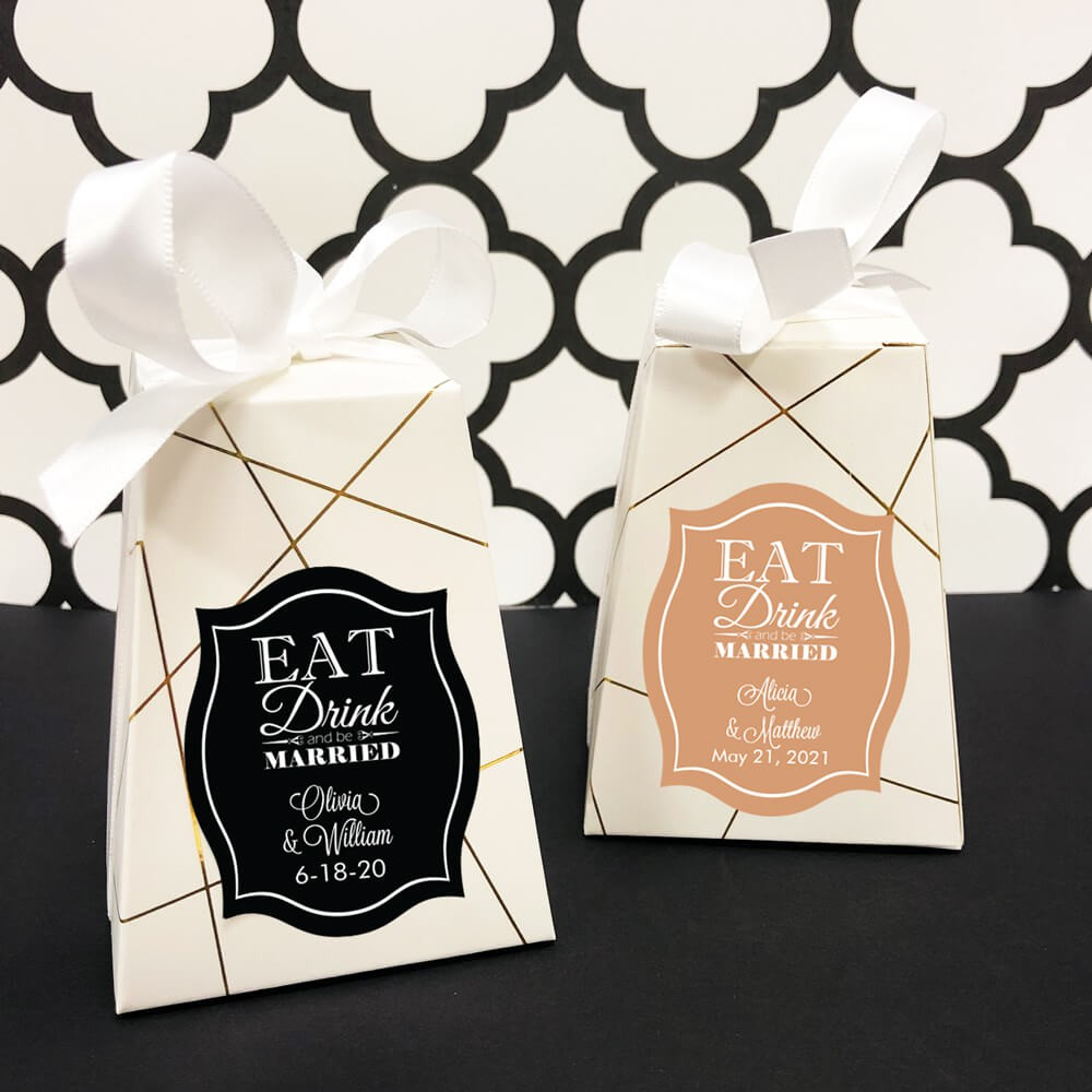 Wedding Favor Boxes.Eat Drink And Be Married Personalized Wedding Favor Box Set Of 12